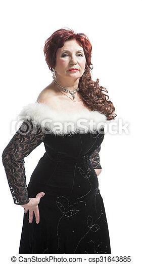 woman in black dress - csp31643885