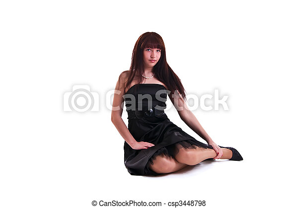 woman in black dress - csp3448798