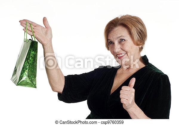 woman in black dress standing - csp9760359