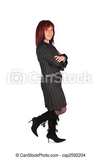 Woman in black dress - csp2592204