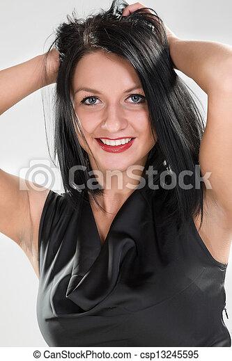 woman in black dress - csp13245595