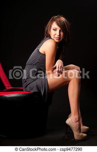 woman in black dress - csp9477290