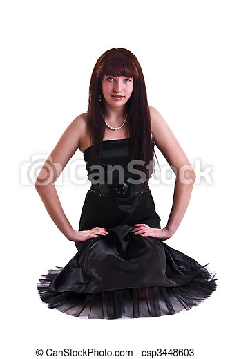 woman in black dress - csp3448603