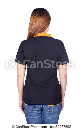 ebbc148430ddf8 Woman in black polo shirt isolated on white background (back side ...
