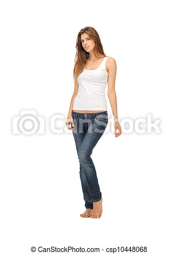 woman in blank white t-shirt - csp10448068