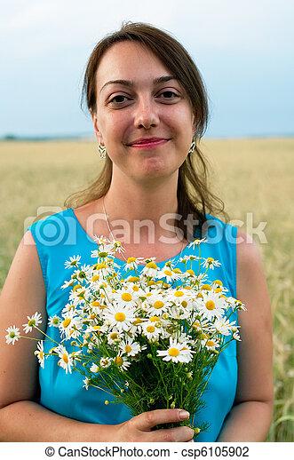 woman in blue dress - csp6105902
