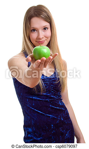 woman in blue dress with a green apple - csp6079097