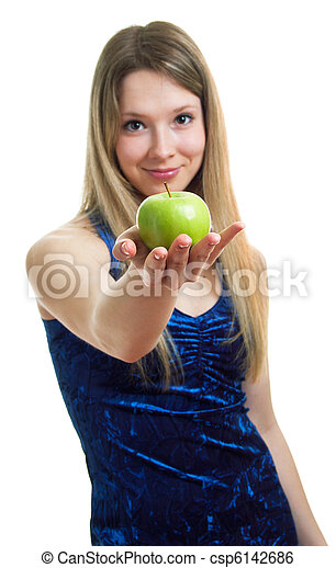 woman in blue dress with a green apple - csp6142686