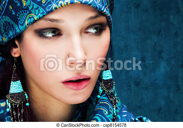 woman in blue - csp8154578