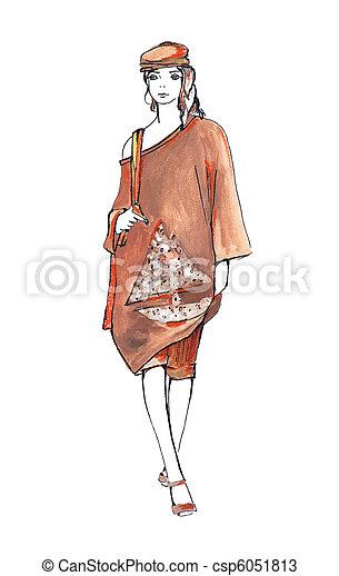 Woman in brown summer suit - csp6051813