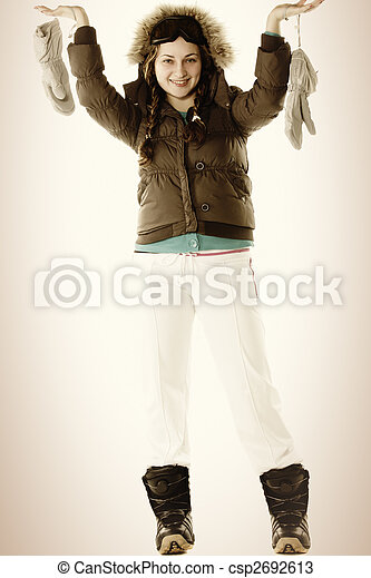Woman in brown with raised hands - csp2692613