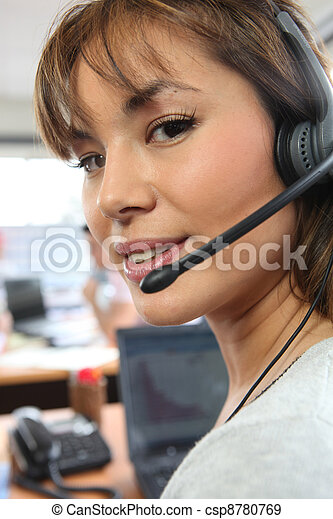 woman in call center - csp8780769