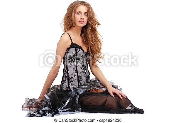 woman in dress sitting - csp1924238