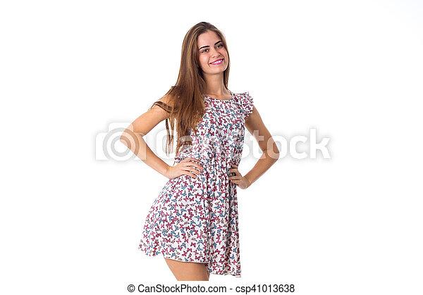 Woman in dress smiling - csp41013638