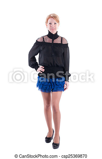 Woman in dress standing on a white background. - csp25369870