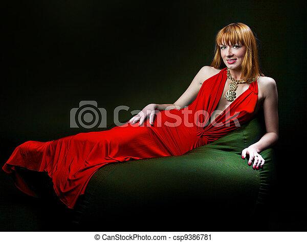 Woman in evening dress - csp9386781