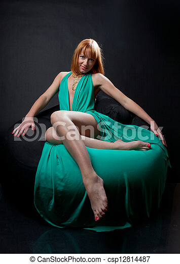 Woman in evening dress - csp12814487