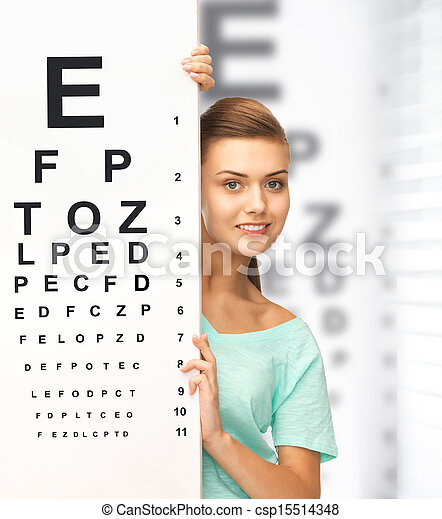 woman in eyeglasses with eye chart - csp15514348