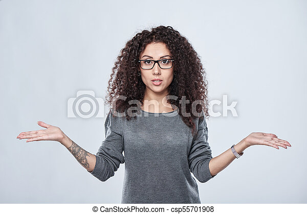 Woman in eyeglasses with two opened hand palms - csp55701908