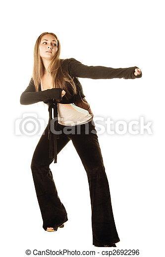 Woman in fighting stance - csp2692296