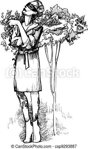 woman in glasses near the tree - csp9293887