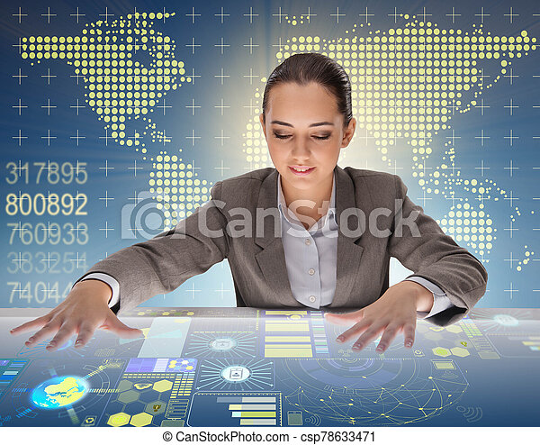 Woman in global computing concept - csp78633471