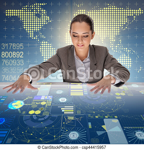 Woman in global computing concept - csp44415957