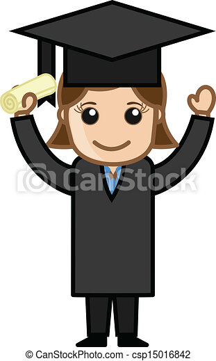 woman in graduation dress drawing art of successful graduate cartoon girl holding degree vector illustration https www canstockphoto com woman in graduation dress 15016842 html