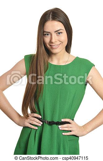 woman in green dress - csp40947115