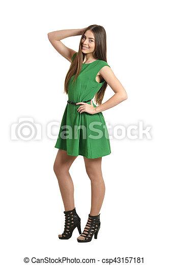 woman in green dress - csp43157181