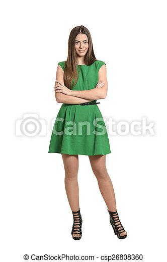 woman in green dress - csp26808360