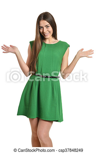 woman in green dress - csp37848249