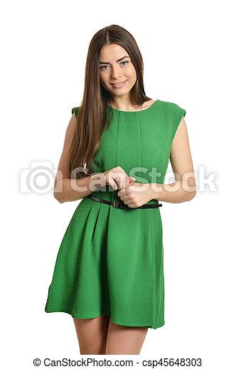 woman in green dress - csp45648303