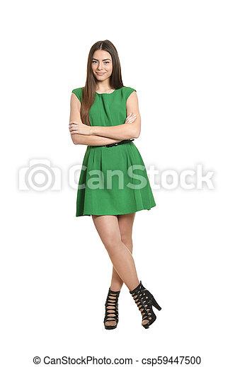 woman in green dress - csp59447500