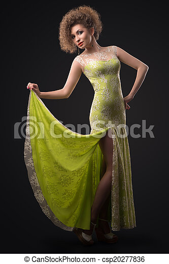 woman in green dress - csp20277836