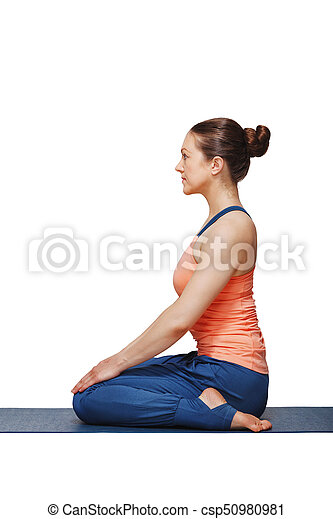 woman in hatha yoga asana vajrasana  vajra pose or