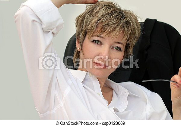 Woman in her office - csp0123689