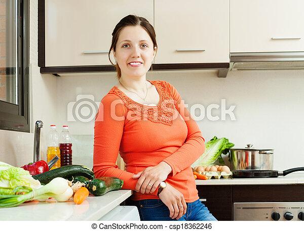 woman in home kitchen - csp18362246