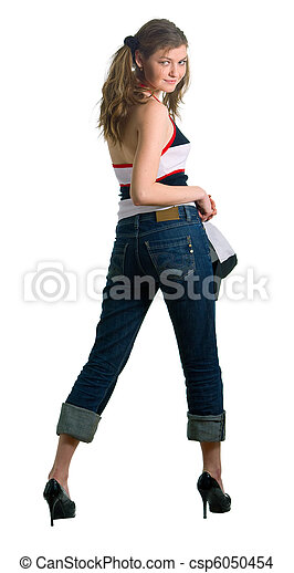 woman in jeans - csp6050454