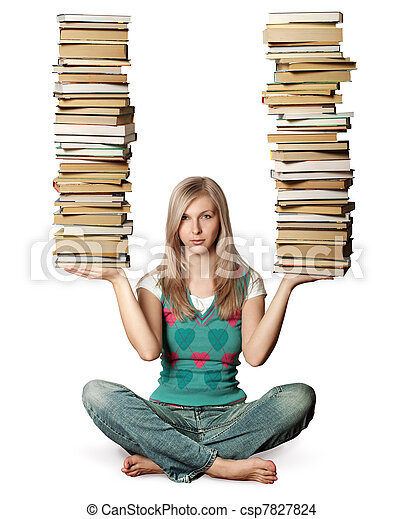 woman in lotus pose with many books in her hands isolated