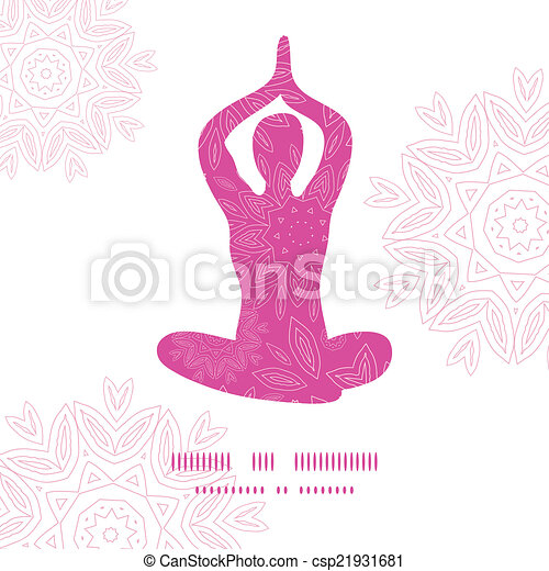 Woman in lotus yoga pose silhouette pink flowers pattern background frame - csp21931681