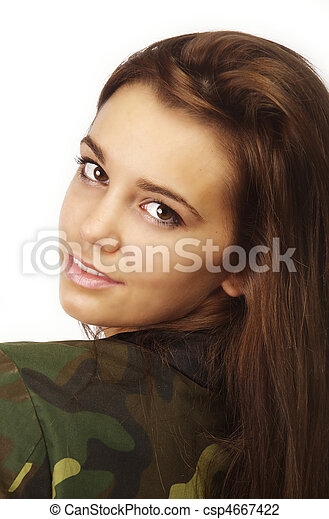 woman in military style urban jacke - csp4667422