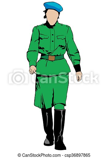 young woman in military uniform on a white background clip art rh canstockphoto ca uniform clipart black and white nurse uniform clipart
