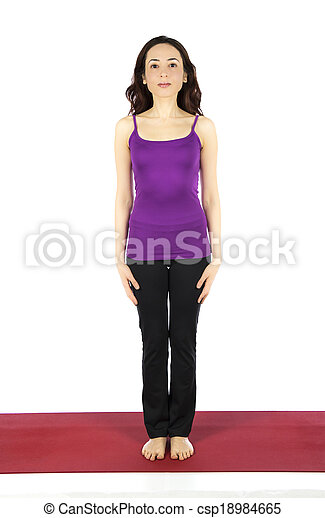 woman in mountain pose during yoga woman is doing