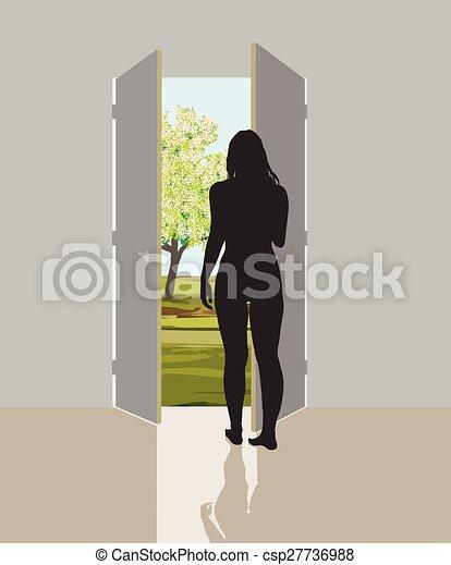 Woman in open door - csp27736988