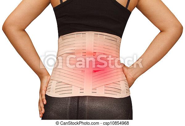 Woman in pain from back injury wearing lumbar brace corset  - csp10854968