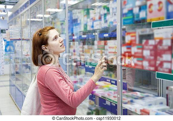 Woman in pharmacy drugstore - csp11930012