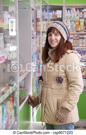 Woman in pharmacy drugstore - csp9071223