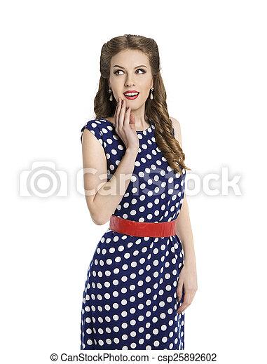 1b434b5768 Woman in polka dot dress