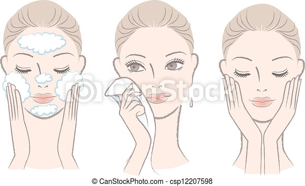 woman in process for washing face - csp12207598